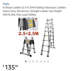 A-Ladder 2.5+2.5 folding telescopic Ladder heavy duty aluminum, straight ladder use height 5m(16.4ft) Max load 330lbs brand new for Sale in Corona, CA