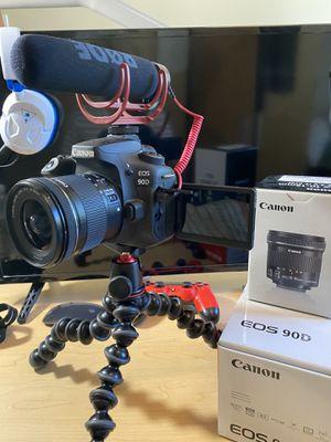 Canon 90D BUNDLE - 10-18 Wide angle lens - Microphone + Gorilla Pod for Sale in Honolulu, HI