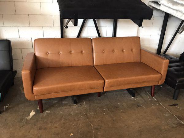 Brown Faux Leather Futon