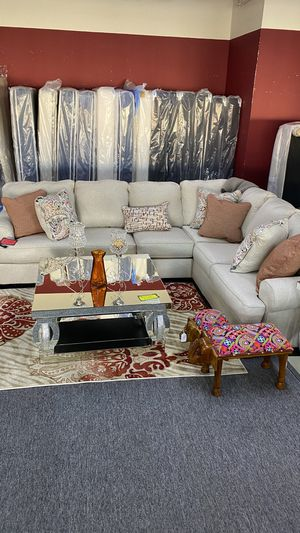 Beige Sectional with Orange accent pillows Brand New WY72 for Sale in Euless, TX