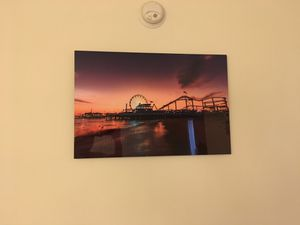"""Beautiful Santa Monica Pier at sunset 30""""x20""""- metal gloss photo frame for Sale in Los Angeles, CA"""