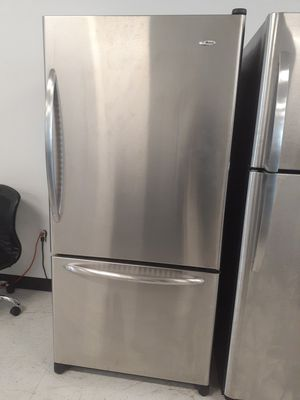 Amana stainless steel bottom freezer in good condition with 90 day's warranty for Sale in Mount Rainier, MD
