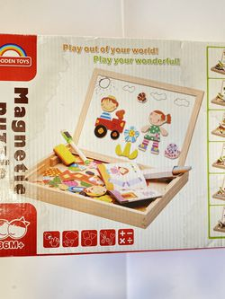 Wooden Toys Magnetic Puzzles Kids Wooden Games 109 Pieces Double Side Education Learning Toys for Children for Sale in Boca Raton,  FL