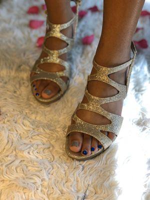 Gold glitter heels for Sale in Newark, NJ