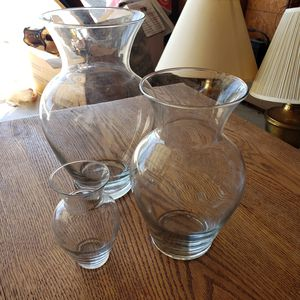 Set of 3 Glass Vases for Sale in Montclair, CA