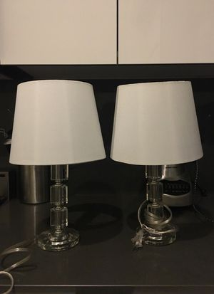 Set of 2 short clear stacked crystal table lamps for Sale in New York, NY