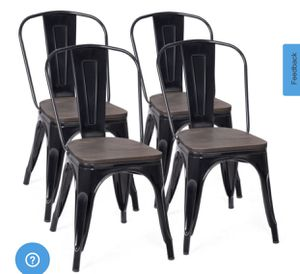 New Tolix Style Dining Chairs Industrial Metal Stackable Cafe Side Chair w/Wood Seat Set of 4 (Black) for Sale in Industry, CA