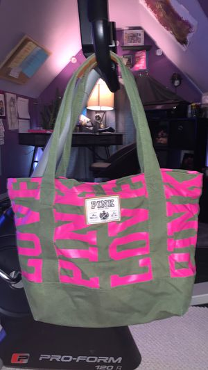 Victoria secret navy green and pink tote bag for Sale in Beaver Falls, PA