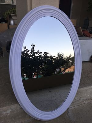 Oval mirror 22x30 inch in a white frame. New for Sale in Los Angeles, CA