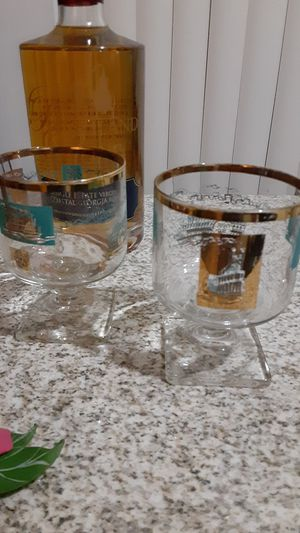 Mid-century modern drinking glasses gold and turquoise for Sale in Fort Lauderdale, FL