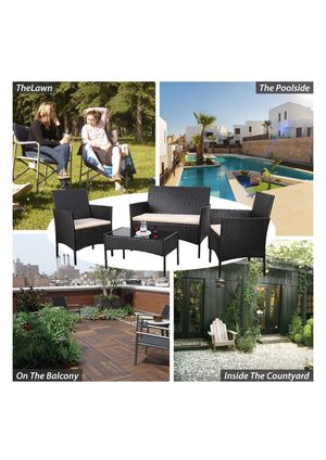 Brand New Black Rattan Patio Balcony Conversation Outdoor Furniture Set for Sale in Hialeah, FL