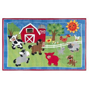 FLAGSHIP CARPETS Infant Baby Washable Rug 5' x 8', Barnyard Farm Animals Design for Sale in Modesto, CA