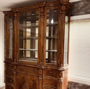 Antique Staas China Cabinet It's 70inches long by 90 inches tall The depth is only 21 inches serious buyer only please is fix pick up from Renton for Sale in Renton, WA