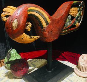 Vintage colorful painted wood sculpture - Phoenix Bird for Sale in Chandler, AZ