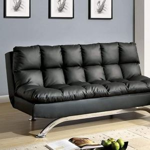 BLACK BONDED LEATHER FUTON COUCH ADJUSTABLE BED SOFA - SILLON CAMA for Sale in Downey, CA