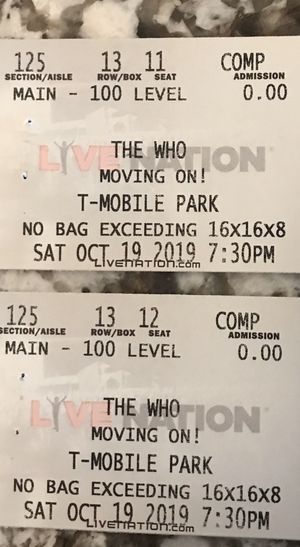"""The Who"" 2 Tickets T-Mobile Park for Sale in Bellevue, WA"