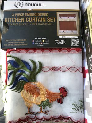 3pc kitchen curtain set new $15 each for Sale in San Diego, CA