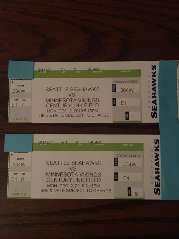 Seahawks vs Minnesota Vikings 2 tickets