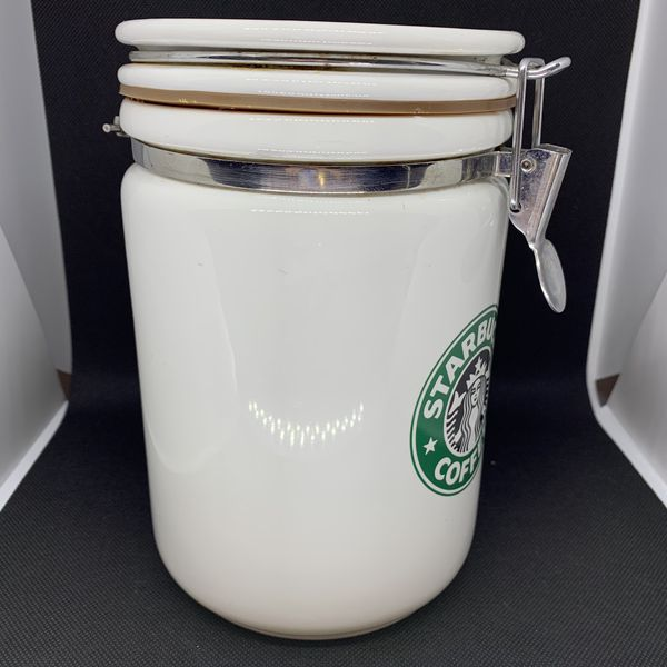 """Starbucks Beehouse 8"""" White Canister Siren Storage Container Split Tail"""