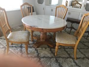 Real marble top small dining or area table for chairs and a wood real nice piece for Sale in Byron, CA