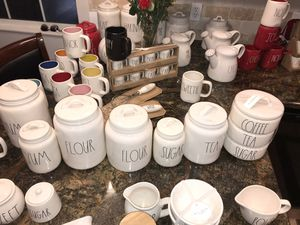 Rae Dunn 7 count Canister set. Just perfect ! Upscale Kitchen Decor..Individual pieces available.. Ships Daily. for Sale in Sanger, CA