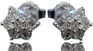 ☆14KT WHITE GOLD-EARRINGS-DIAMOND CLUSTER-STUDS-NEW☆ for Sale in New York, NY