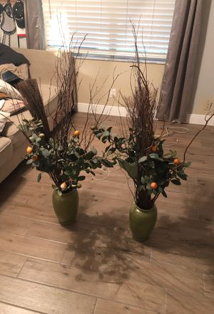 Two vases with faux oranges and twigs for Sale in St. Petersburg, FL