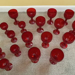 Red Glass Goblet Set 18-pieces for Sale in Austin, TX