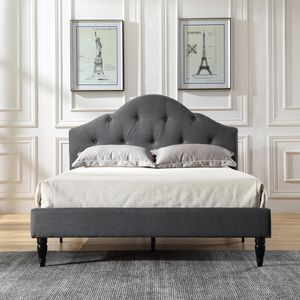Modern Sleep Winterhaven Upholstered Platform Bed | Headboard and Wood Frame with Wood Slat Support | Grey, for Sale in Rochester, NY