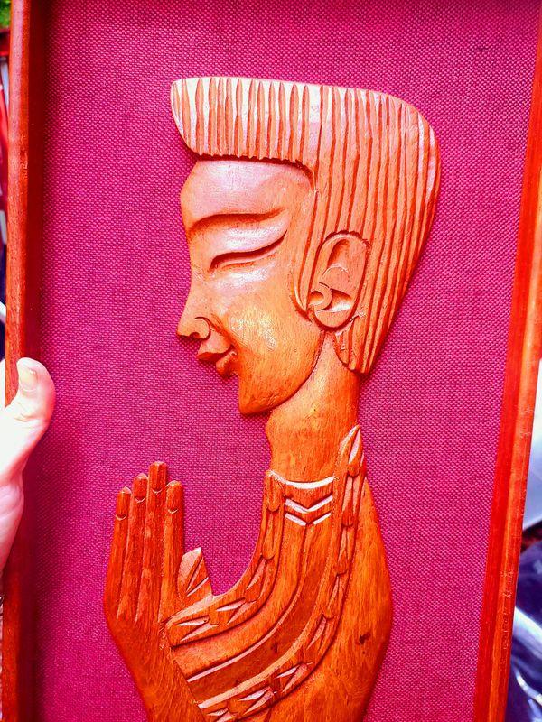 Antique Wall Hanging Mid Century Wood Burlap Carved Man Praying