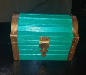 wooden treasure chest gold mermaid teal color jewelry box tray organizer trinket for rings necklaces bracelets earrings coated with crushed glass for Sale in Germantown, MD