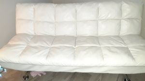 White leather futon couch for Sale in Belleair, FL