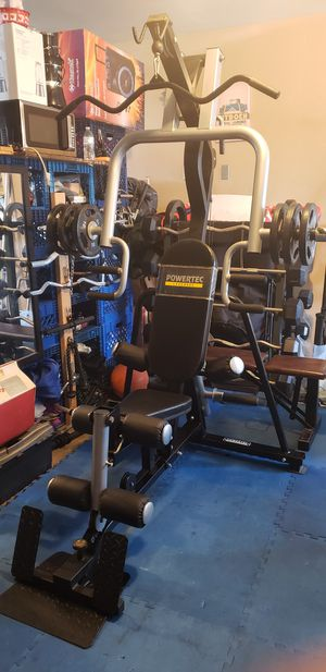 I have for sale a total home gym in great shape pawertec vertical training system Home Gym is equipped to do a total body work for Sale in Bloomington, CA