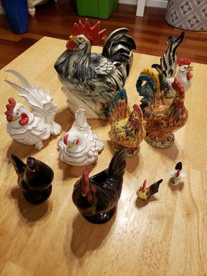 10 rooster chicken and hen figures for Sale in Gresham, OR