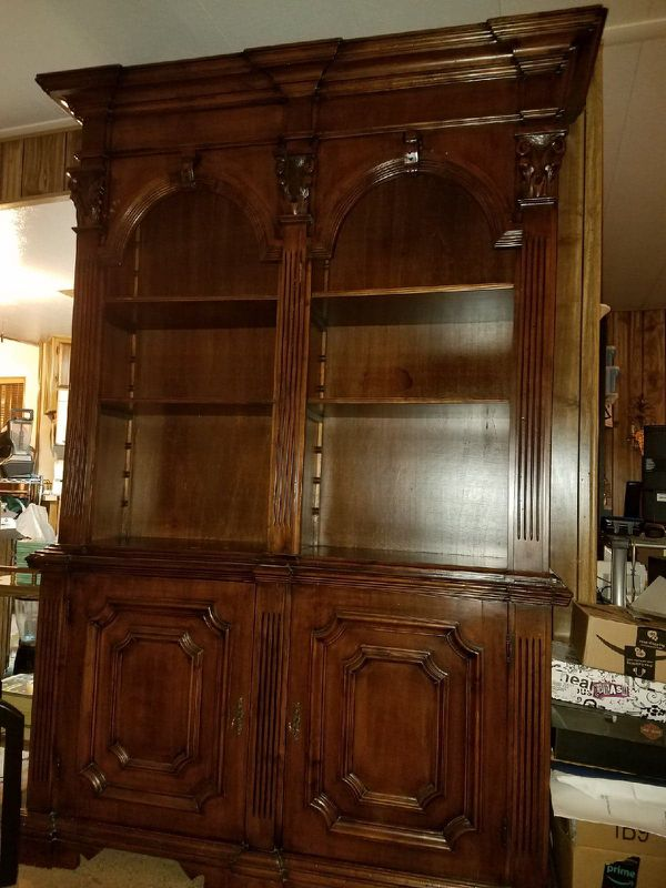 Hand carved 2 pce Wood Bookcase
