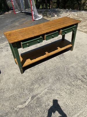 Great condition distressed green sofa console table for Sale in Wellesley, MA