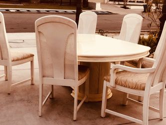 """Solid wood dining table and four chairs,Table Dimensions: high 30 """"length 60"""" (plus 2 leaves of 90 """"length) Deep44"""", leaf 15 """"each for Sale in Seal Beach,  CA"""