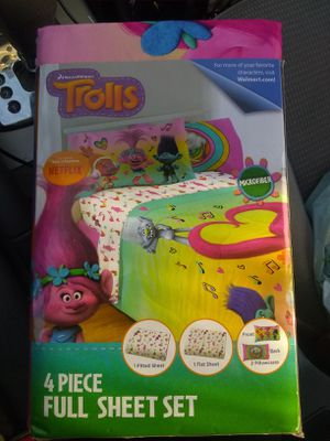 Trolls sheets and pillow case for Sale in Imperial Beach, CA