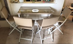 5 piece high top dining table chair set wicker and glass for Sale in West New York, NJ