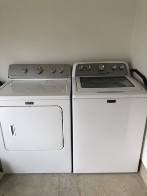 Maytag HE washer & dryer set fits king comforters & larger loads comfortably, dryer very hot. Works excellent!!! for Sale in Frederick, MD