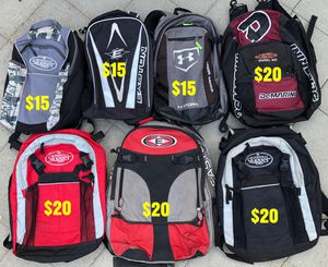 Baseball bags Easton Louisville slugger under armour for equipment bats gloves for Sale in Culver City, CA