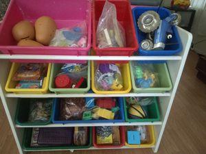 kids toy storage bin. TOYS INCLUDED! for Sale in Menifee, CA