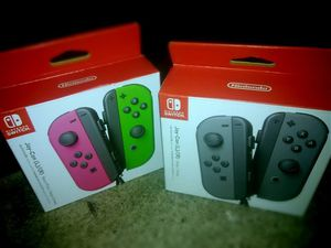 *new* 2 Sets of NINTENDO SWITCH Joy-Con (L)/(R) GAME CONTROLLERS - grey/grey + green/pink for Sale in Portland, OR