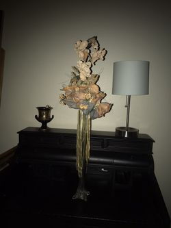 Crystal tall vase with flowers for Sale in Tucson,  AZ