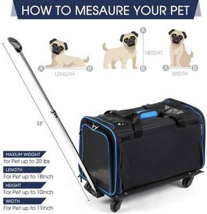Removable Wheeled Travel Carrier for Pets up to 20 lbs for Sale in Rancho Cucamonga, CA