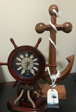Wooden clock and anchor for Sale in Portland, OR