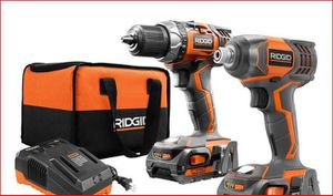RIDGID 18-Volt Lithium-Ion Cordless Drill/Driver and Impact Driver 2-Tool Combo Kit with (2) 2.0 Ah Batteries, Charger, and Bag for Sale in Chicago, IL