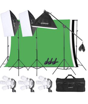 """Lighting Kit Photography Equipment 20X28"""" Softbox Kit with Background Support System, 3pcs 6.6 x 9.8ft Backdrop(Black/White/Green) for Studio Photogr for Sale in Dallas, TX"""