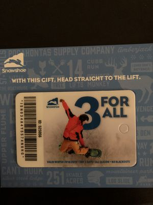 Snowshoe 3 day lift ticket pass unused. Ski snowboard for Sale in Arlington, VA