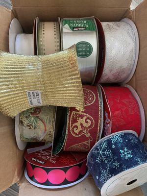 Christmas ribbon wire edged- whole box for Sale in Mason, OH